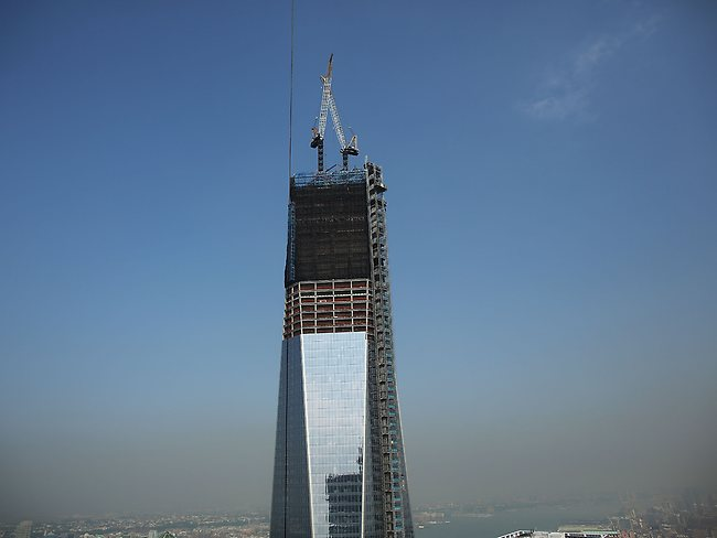 One World Trade Center is viewed from the 72nd floor of Four World Trade Center.