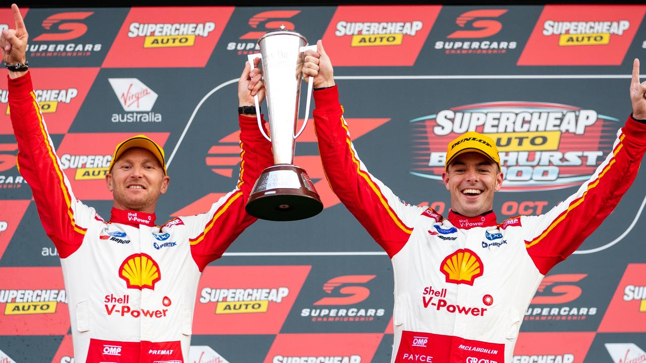 McLaughlin and Premat celebrate their Bathurst win in October.
