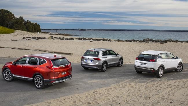 The Honda CR-V, left, has the biggest boot, despite what the brochures say. Picture: Supplied.