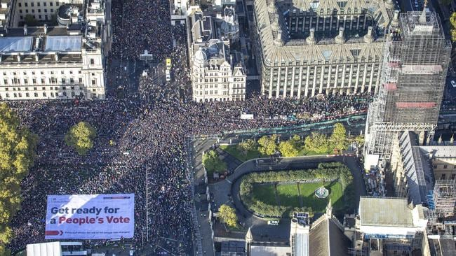 An aerial view of the anti-Brexit protest in Parliament Square, London on October 19 Photo: Led By Donkeys via AP