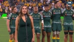 The Wallabies' national anthem. Photo: Kayo