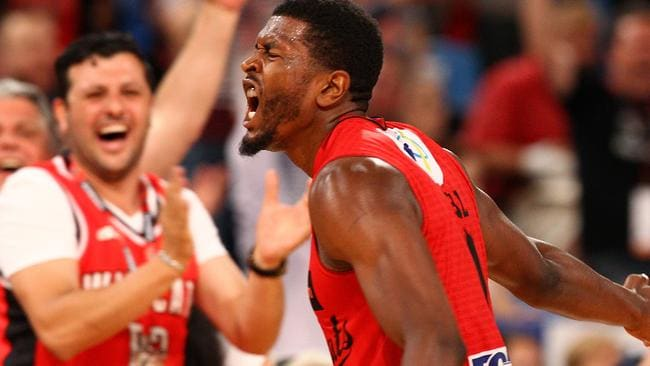 Jermaine Beal of the Wildcats celebrates a three pointer during the round 10 NBL match between the Perth Wildcats and Melbourne United.