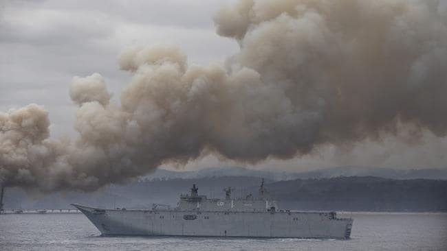 HMAS Adelaide arrives in Eden on Monday morning. Picture: Gary Ramage