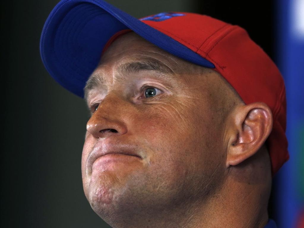 Knights coach Nathan Brown seems to fight back tears as he addresses media at Wests Mayfield, Wednesday, August 21, 2019. Brown fronted a press conference regarding his departure from the Newcastle Knights NRL club. (AAP Image/Darren Pateman) NO ARCHIVING, EDITORIAL USE ONLY