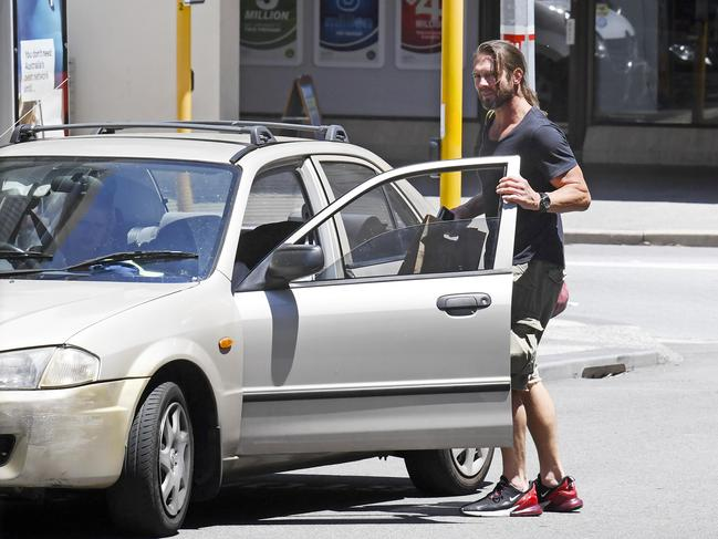 Former West Coast Eagle Ben Cousins pictured near the courthouse where the Claremont serial killer trial was being held.
