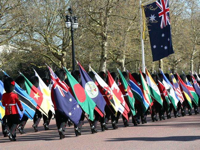 Flags of the 53 Commonwealth countries along The Mall in London are supposed to celebrate Commonwealth countries however many are furious over the treatment of their countrymen. Picture: Gareth Fuller/PA via AP.