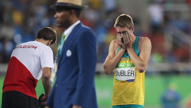 Dubler after his last javelin throw almost hit a cameraman. Picture: Brett Costello
