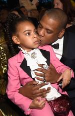 Blue Ivy Carter and Jay Z during The 59th GRAMMY Awards at STAPLES Center on February 12, 2017 in Los Angeles, California. Picture: Getty
