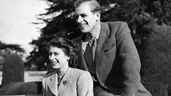 Princess Elizabeth (now Queen Elizabeth II) and her husband Philip Duke of Edinburgh, pose during their honeymoon at Broadlands Estate, Hampshire, in 1947, Picture: AFP