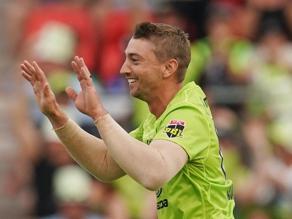 Daniel Sams of Thunder claims a wicket during the Big Bash League (BBL) cricket match between Sydney Thunder and Melbourne Stars at Sydney Showground Stadium in Sydney, Thursday, January 2, 2020. (AAP Image/Mark Evans) NO ARCHIVING, EDITORIAL USE ONLY, IMAGES TO BE USED FOR NEWS REPORTING PURPOSES ONLY, NO COMMERCIAL USE WHATSOEVER, NO USE IN BOOKS WITHOUT PRIOR WRITTEN CONSENT FROM AAP