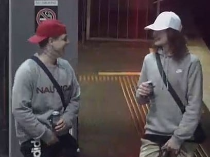 The men were captured on CCTV after being kicked off a train at Heyington.