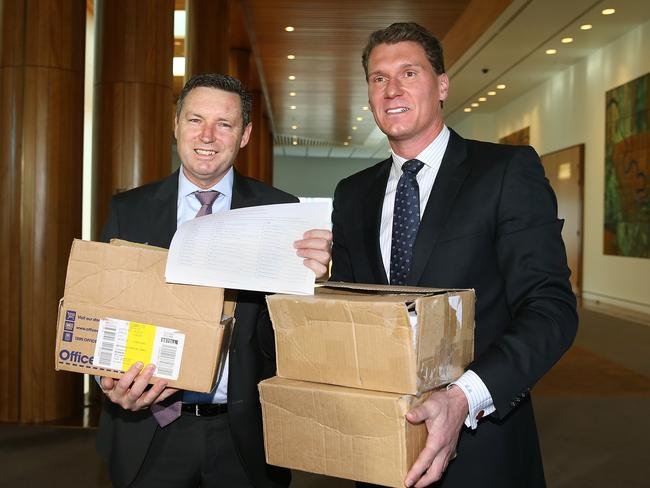 Australian Christian Lobby Managing Director Lyle Shelton and Senator Cory Bernardi holding a press conference at Parliament House in Canberra. Picture Kym Smith