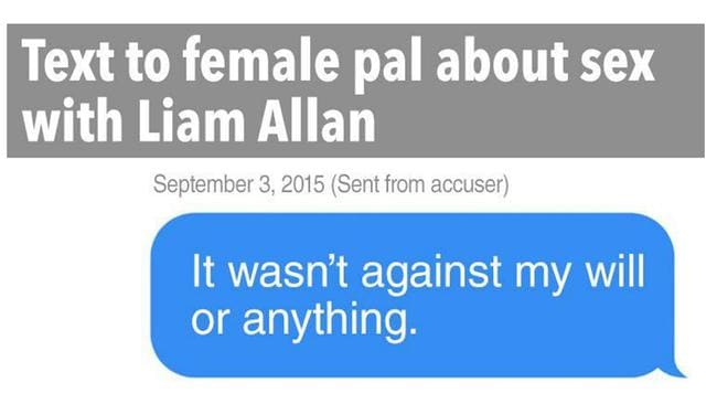 Bombshell text messages that cops withheld despite the fact they cleared accused Liam Allan of rape.
