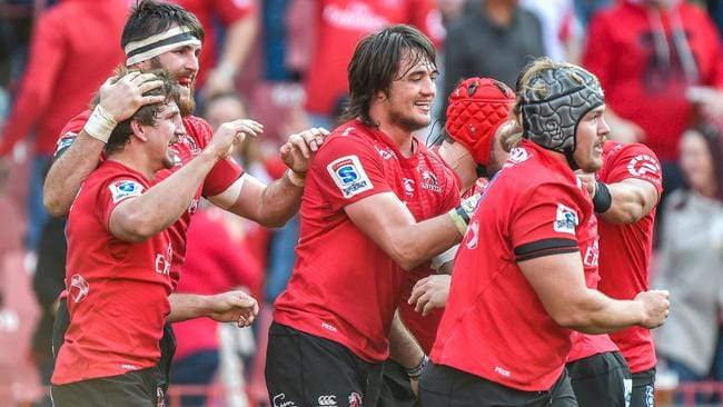 The Lions celebrate Kwagga Smith's try in the Super Rugby semi-final against the Hurricanes.