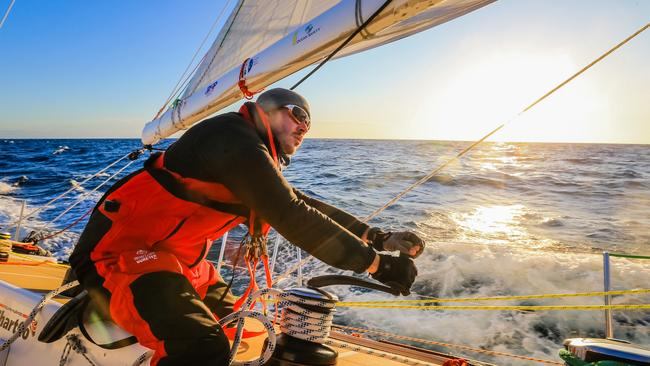 Matthew Ogg, 28, is racing around the world, trimming a sail aboard Da Nang Vietnam. Picture: Craig Greenhill/Daily Telegraph.