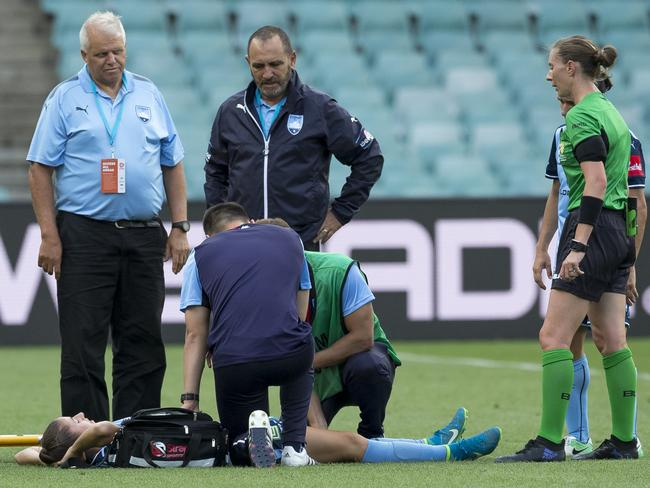 Amy Harrison of Sydney is injured. (AAP Image/Craig Golding)