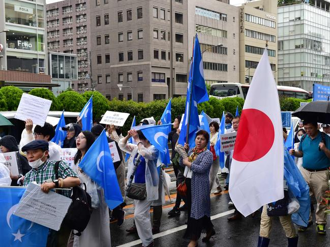 Protesters of the Uighur community in Japan march against China's oppression of their people. Picture: Laurent Fievet/AFP