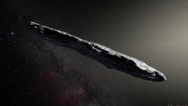 An artist's concept of interstellar asteroid 1I/2017 U1 ('Oumuamua) as it passed through the solar system after its discovery in October 2017. Observations of 'Oumuamua indicate that it must be very elongated because of its dramatic variations in brightness as it tumbled through space. Picture: European Southern Observatory / M. Kornmesser