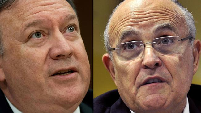 US Secretary of State Mike Pompeo and former New York Mayor Rudolph Giuliani. Pictures: Saul Loeb and Andrej Isakovic / AFP