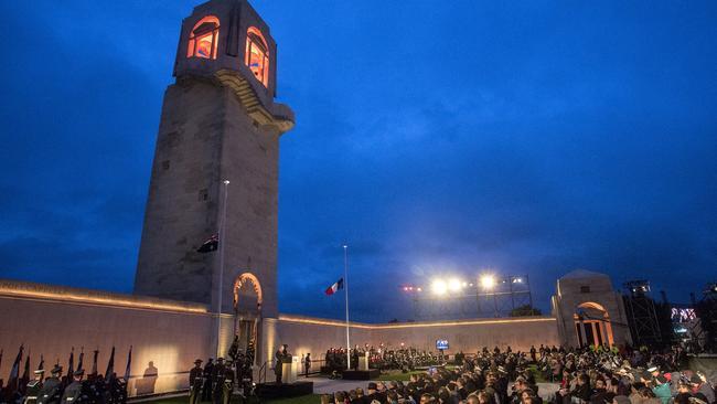 An Anzac dawn service has been held at Villers-Bretonneux at the Australian National Memorial since 2008. Picture: Ella Pellegrini/ News Corp Australia