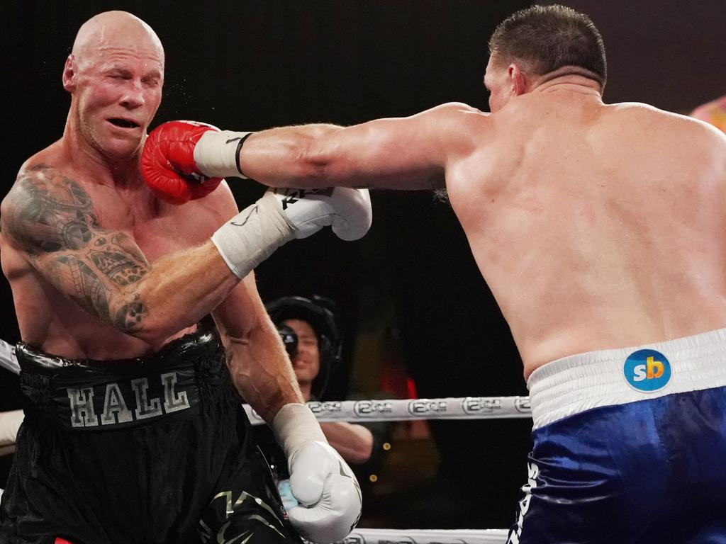 Paul Gallen and Barry Hall compete during the Code War Boxing night at Margaret Court Arena in Melbourne, Friday, November 15, 2019. (AAP Image/Michael Dodge) NO ARCHIVING, EDITORIAL USE ONLY