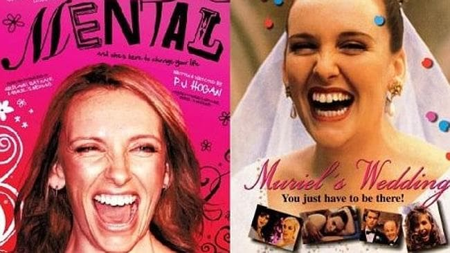 Collette in the movie posters for Mental and Muriel's Wedding, made 18 years apart.