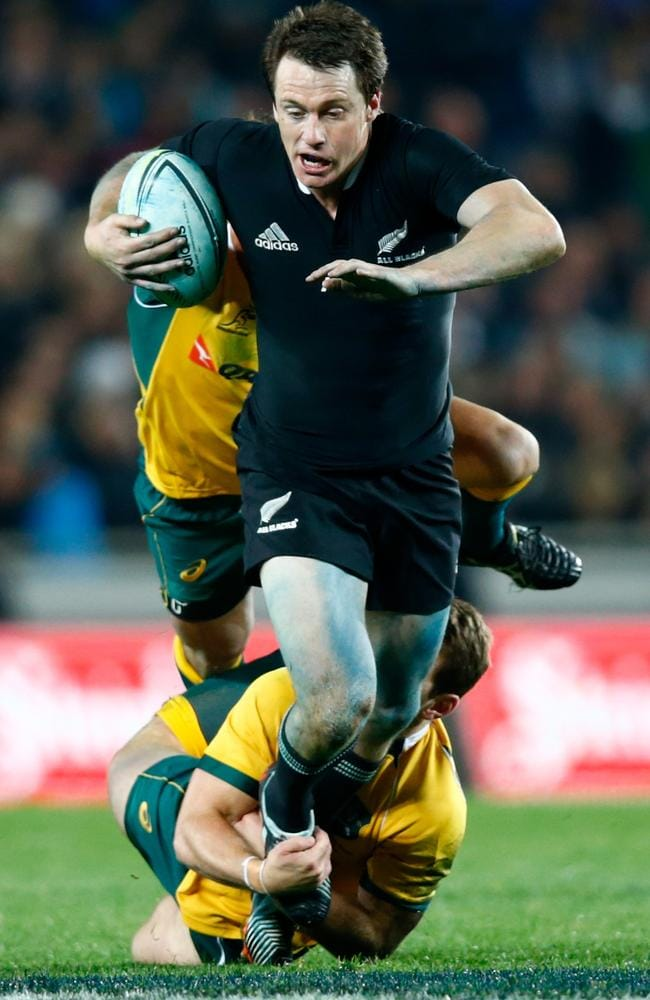 Ben Smith on the charge for the All Blacks at Eden Park.