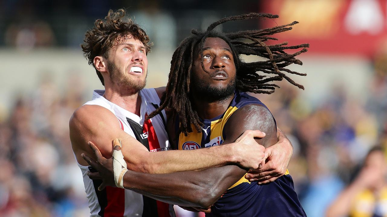 Tom Hickey and Nic Naitanui are now teammates. Photo: Will Russell/AFL Media/Getty Images.