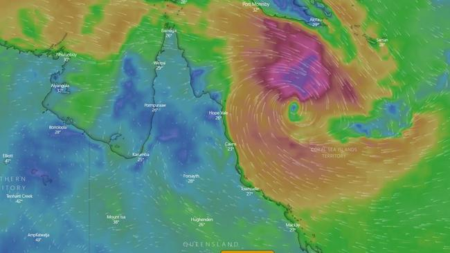 Windy.com shows potential Cyclone Penny.