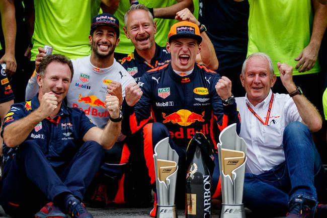 Red Bull celebrating Verstappen's win in Malaysia last year.