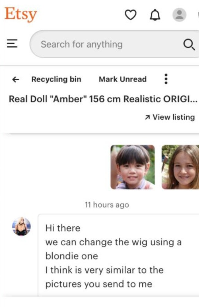 An Etsy store was taken down after openly selling sex dolls and offering to change the look of them to match images of children. The headshots above are computer-generated images. Picture: Supplied