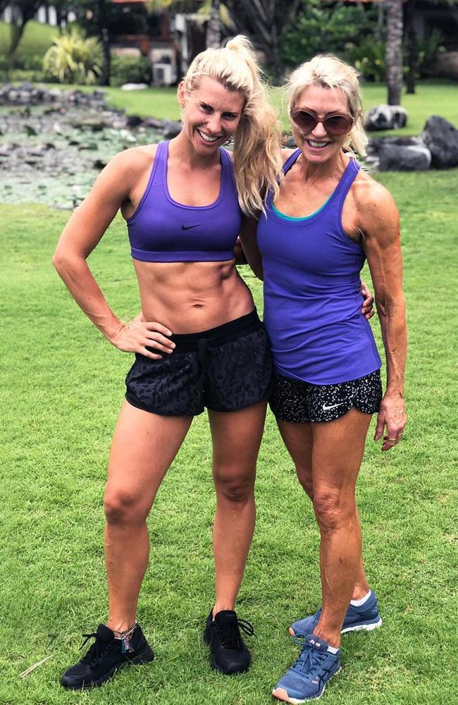 That's some solid arm definition if I ever did see. You're looking at Tiff Hall, 34, and her incredibly toned mum, Jeanette, 62.