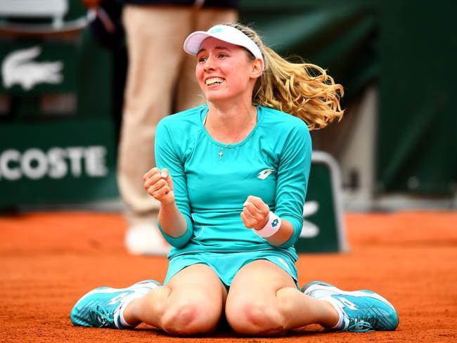 Ekaterina Alexandrova celebrates match point.