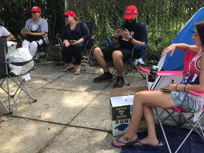 Supporters of President Trump wait for his 2020 re-election bid event to start in Orlando, Florida. Picture: Twitter