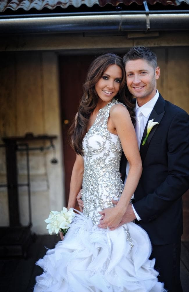 Wedding photograph of cricketer Michael Clarke and his wife Kyly. Picture: AAP Image/twitter.