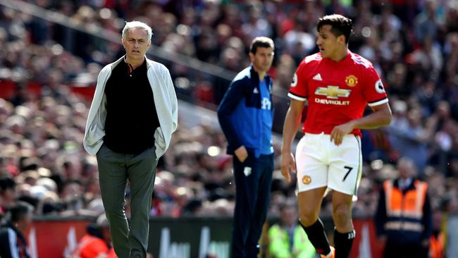 Jose Mourinho, Manager of Manchester United and Alexis Sanchez