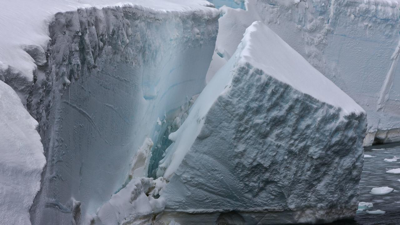 The Antarctic Amery ice shelf calving, or breaking off. Picture: Australian Antarctic Division