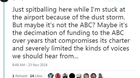 A screenshot of the ABC executive's Twitter