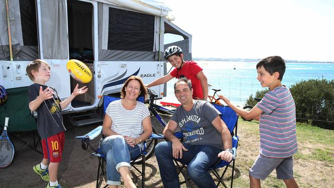 Caravan craze ... Jeff and Katrina Milton with children James, 11, Thomas, 10 and Oscar, 7 at the Barwon Heads Caravan Park. Picture: Peter Ristevski
