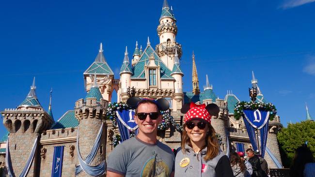 Rove McManus and Sam Frost at Disneyland.