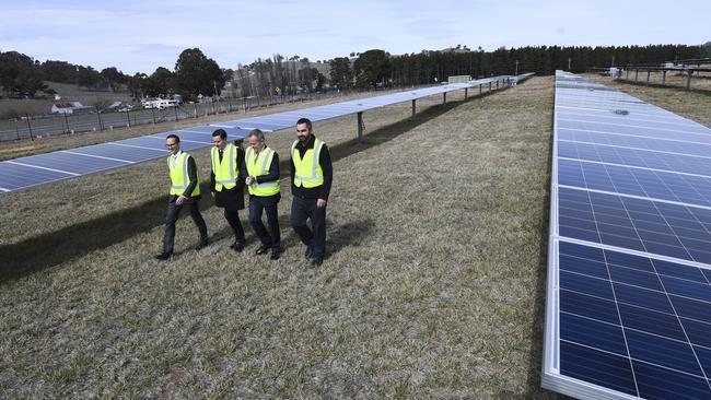 Australian Opposition Leader Bill Shorten visits Mount Majura Solar Farm in Canberra on August 20. Picture: Lukas Coch/AAP