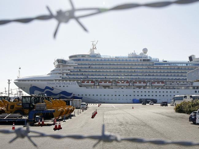 The quarantined ship Diamond Princess is pictured at Yokohama port. Picture: Mayuko Isobe/Kyodo News via AP