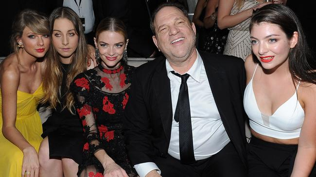 Singer Taylor Swift, musician Este Haim, actor Jaime King, Weinstein and recording artist Lorde at The Weinstein Company & Netflix's 2015 Golden Globes After Party. Picture: Getty Images