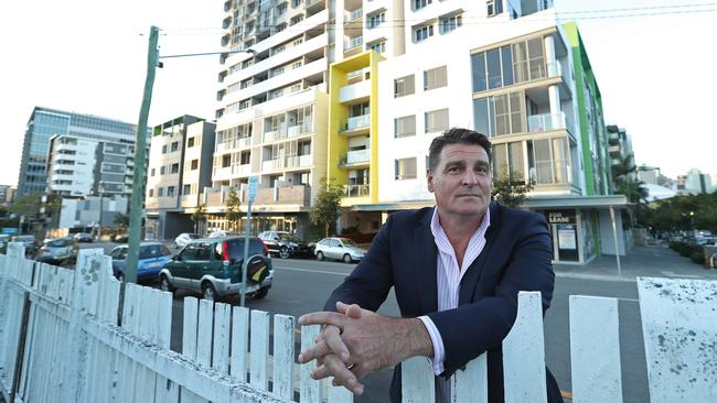Brisbane Real Estate Agent Frank Gosdschan outside a block of units in South Brisbane. (Lyndon Mechielsen/The Australian)