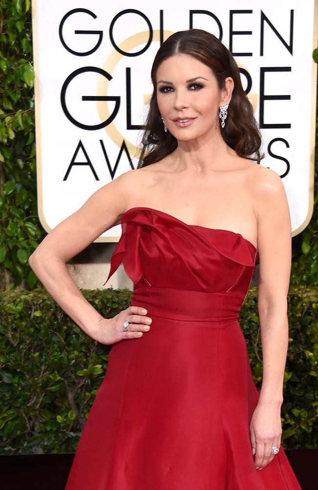 Red hot ... Catherine Zeta-Jones at the Golden Globes. Picture: Frazer Harrison/Getty Images