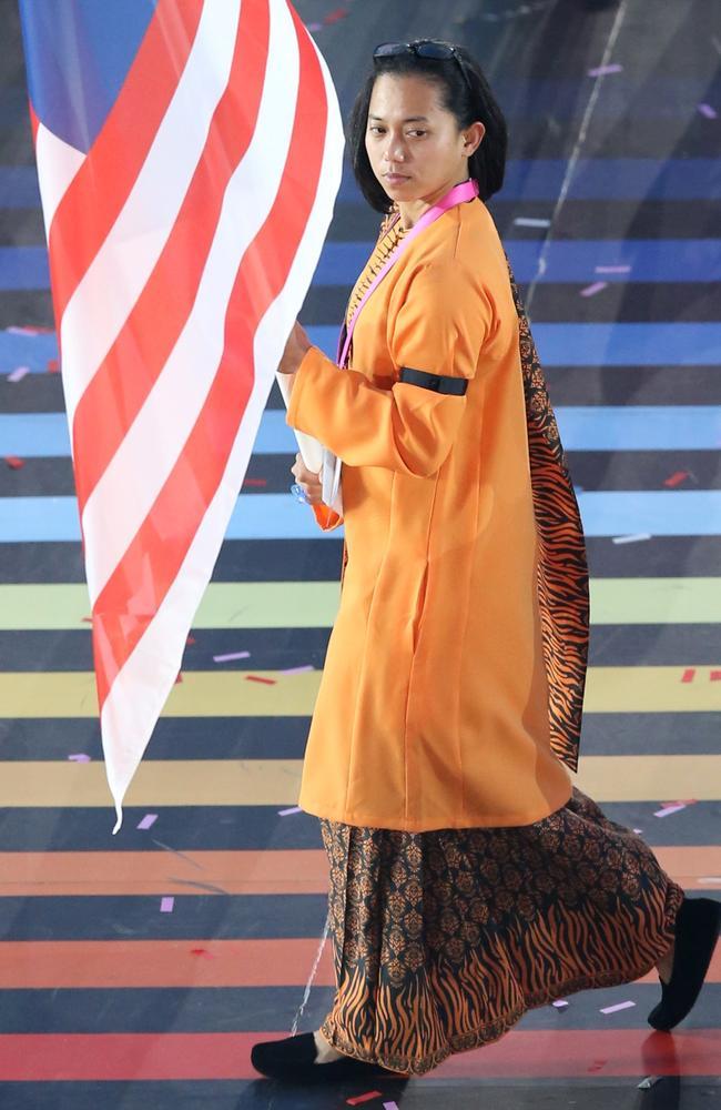 Malaysia's flag bearer Muhammad Imaadi Aba Aziz. Picture: Scott Heppell