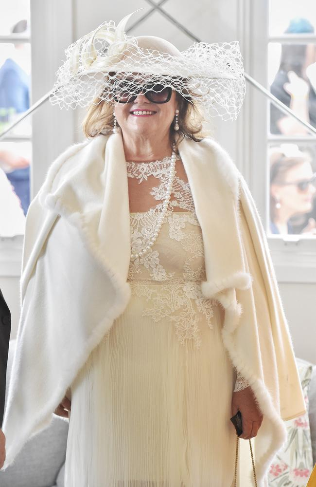 Gina Rinehart in the Emirates marquee today. Picture: Jason Edwards