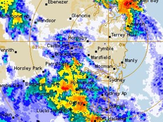 The BOM radar showing Sydney at 5.07pm.