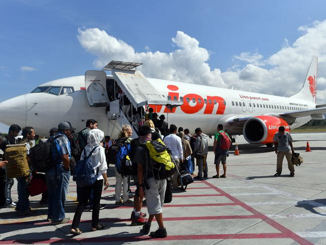 Passengers board a Lion Air Boeing 737-800 aircraft back on October 10. Picture: AFP