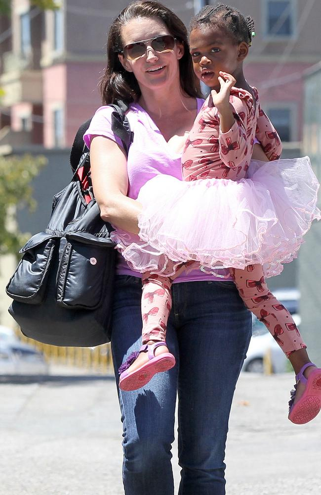 "Kristin Davis is filled ""with terror"" for her adopted black daughter, Gemma Rose Davis. Picture: AKM-GSI/Splash News"